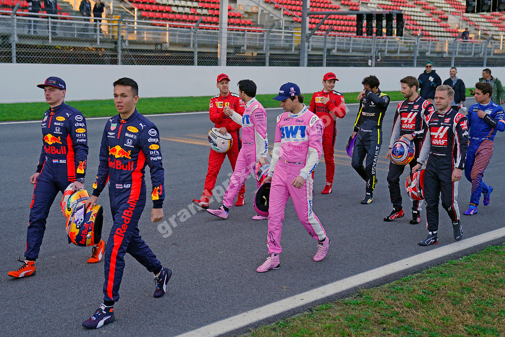 All drivers walking on grid at the pre-season test  at the Circuit de Barcelona-Catalunya in February 2020. Photo: Grand Prix Photo