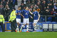 Dominic Calvert-Lewin of Everton (l) celebrates with his teammates after scoring his teams 1st goal. Premier league match, Everton v Hull city at Goodison Park in Liverpool, Merseyside on Saturday 18th March 2017.<br /> pic by Chris Stading, Andrew Orchard sports photography.