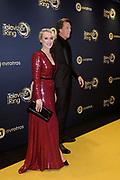 Gouden Loper van het 49ste Gouden Televizier-Ring Gala 2014 in Carre , Amsterdam<br /> <br /> Op de foto: <br /> <br /> <br /> <br />  Eva Jinek en partner Freek Vonk