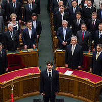 Janos Ader takes the oath of office as President of Hungary in Budapest, Hungary on May 02, 2012. ATTILA VOLGYI