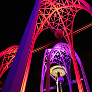 The Space Needle seen through the arches at the Pacific Science Center