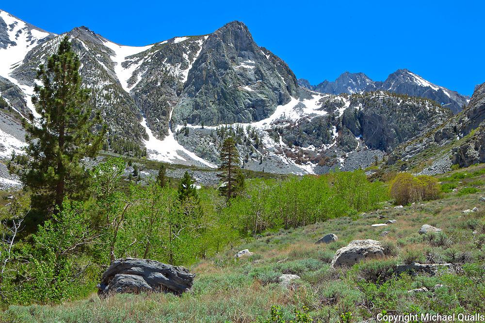 The Palisades Range above Big Pine Creek.  Big Pine Creek.  California.  USA.