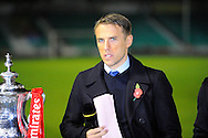 The BBC commentator Phil Neville with the FA Cup before the The FA Cup match between Eastleigh and Swindon Town at Arena Stadium, Eastleigh, United Kingdom on 4 November 2016. Photo by Graham Hunt.