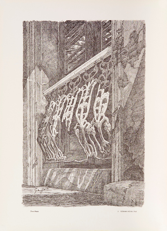 """Cat. #21 - Lithographic print of Pen and Ink drawing of typical wrought iron balcony railing, of strong Spanish influence, as can be found in the old cities of San Juan, Puerto Rico, Havana, Cuba and throught the Caribbean. Printed on pebbled, heavy weight stock.<br /> Paper size is 11 x 15"""". Image size is approximately 8 x 12"""" <br /> Catalogo #21 - Impresión litográfica de un dibujo a plumilla de una típica baranda de hierro forjado, de ifluencia totalmente espanola, que se puede encontrar en las antiguas casas de San Juan, Puerto Rico, La Habana, Cuba y a través del Caribe. Impreso en papel grueso y textura liviana.<br /> Tamaño del papel es 11 x 15"""". Tamaño de la imagen es aproximadamente 8 x 12"""""""