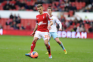 Jamie Paterson of Nottingham Forest in action.  FA Cup with Budweiser, 3rd round, Nottingham Forest v West Ham Utd match at the City Ground in Nottingham, England on Sunday 5th Jan 2014.<br /> pic by Andrew Orchard, Andrew Orchard sports photography.