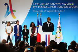 Estelle Mossely, Charles Rozoy, Sandrine Martinet, Laura Flessel and Teddy Riner during the reception in honor of the French delegation Paris 2024, Elysée Palace, Paris, September 15, 2017, Photo by Hamilton/Pool/ABACAPRESS.COM