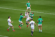 Elliott Daly of England catches the ball during the Six Nations international rugby union match between England and Ireland at Twickenham stadium, Sunday, Feb. 23, 2020, in London, United Kingdom.  England won the match 24-12. (Mitchell Gunn/ESPA-Images-Image of Sport)