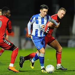 TELFORD COPYRIGHT MIKE SHERIDAN 12/1/2019 - Josh Hawkes of Hartlepool is tracked by Jon Royle and Amari Morgan Smith of AFC Telford during the Vanarama Conference North fixture between AFC Telford United and Hartlepool United at the Super Six Stadium.