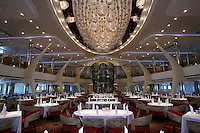 Celebrity Silhouette. Celebrity cruises' new ship launched in Hamburg 21st July 2011..Interior feature photos..Grand Cuvee Dining Room.