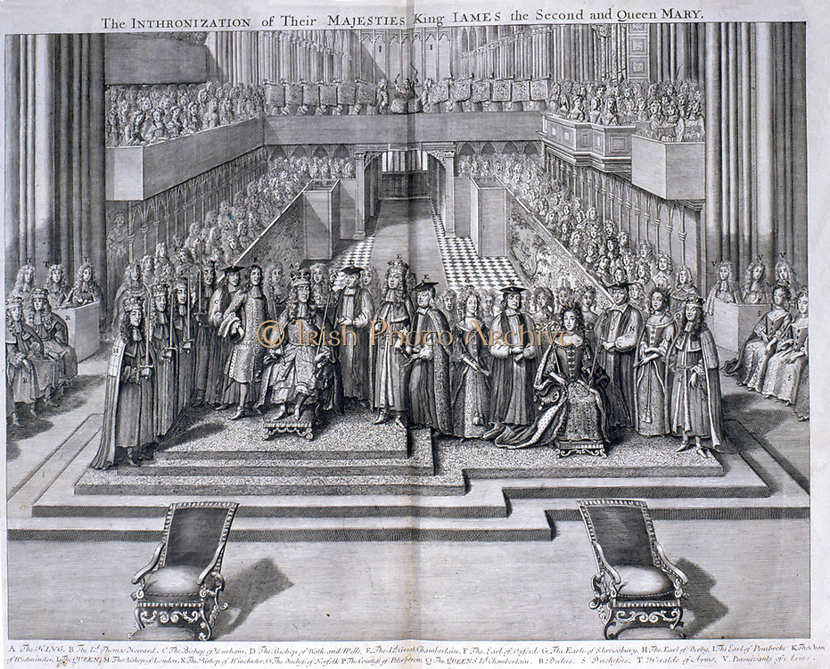 James II of England  VII of Scotland (1633-1701). Reigned 1685-1688.  Coronation of James II and his queen Mary (of Modena), 1685. Scene in Westminster Abbey, London, during the ceremony.  Engraving.