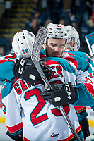 KELOWNA, CANADA - APRIL 30: Brothers Erik Gardiner #12 and Reid Gardiner #23 of the Kelowna Rockets console one another on the series loss against the Seattle Thunderbirds on April 30, 2017 at Prospera Place in Kelowna, British Columbia, Canada.  (Photo by Marissa Baecker/Shoot the Breeze)  *** Local Caption ***
