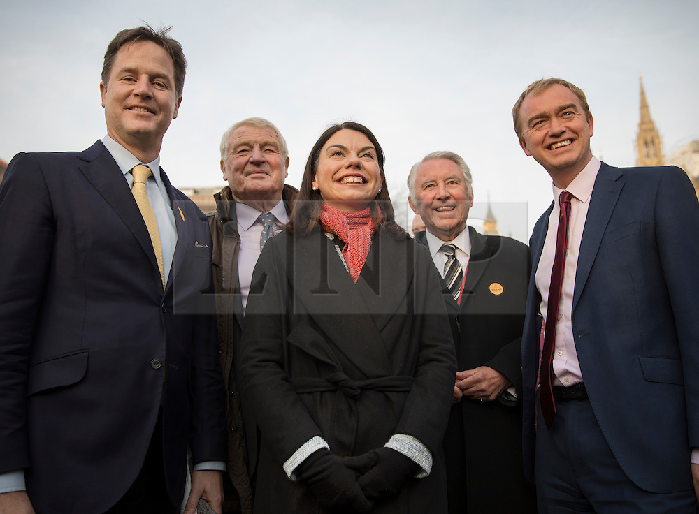 © Licensed to London News Pictures. 05/12/2016. London, UK. Newly elected Lib Dem MP for Richmond Park Sarah Olney stands with former party leaders (L-R) Nick Clegg, Paddy Ashdown, David Steel and current leader Tim Farron near Parliament. Photo credit: Peter Macdiarmid/LNP