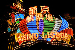 Neon signs of famous Casino Lisboa in Macau China