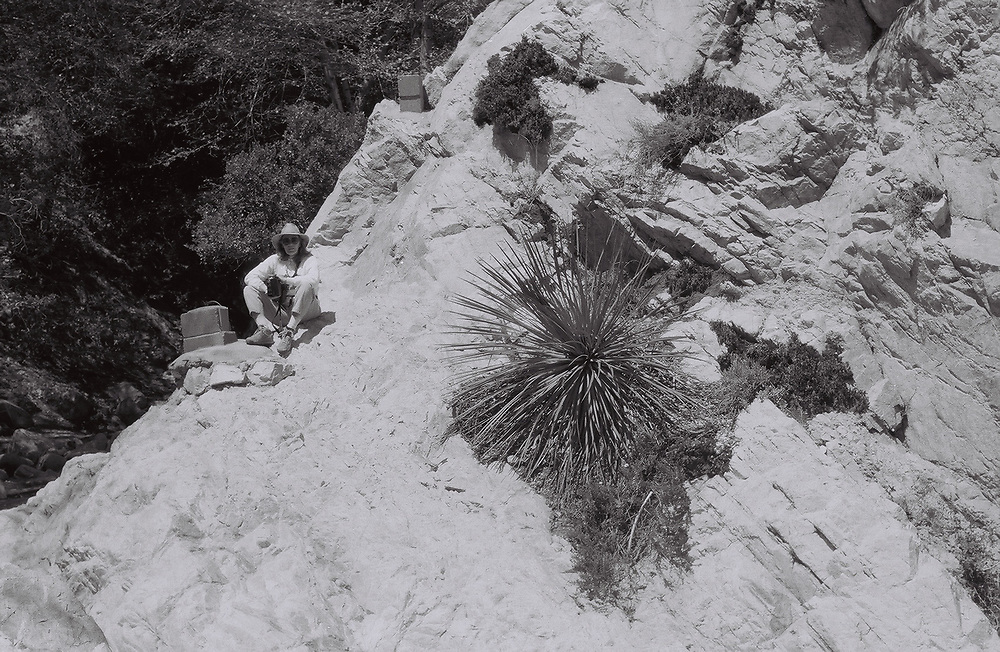 1. When was this photo taken?<br /> <br /> in the 1990s<br /> <br /> 2. Where was this photo taken?<br /> <br /> Switzer Falls, San Bernadino Mountains, California<br /> <br /> 3. Who took this photo?<br /> <br /> Gary Fisher<br /> <br /> 4. What are we looking at here?<br /> <br /> This photograph is an environmental portrait of my wife before we were married.<br /> <br /> 5. How does this old photo make you feel?<br /> <br /> nostalgic<br /> <br /> 6. Is this what you expected to see?<br /> <br /> yes<br /> <br /> 7. What kind of memories does this photo bring back?<br /> <br /> Seeing the photograph brings back memories of that entire day where we hiked and I did photography. It's a small touchstone of our past life - a reaffirmation that reliving the past enriches the present.<br /> <br /> 8. How do you think others will respond to this photo?<br /> <br /> I think that viewers will respond to the asymmetry of the composition and the shifting focus between the woman, the hillside, and the cactus.