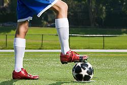 Jul. 25, 2012 - Legs of a footballer and football (Credit Image: å© Image Source/ZUMAPRESS.com)