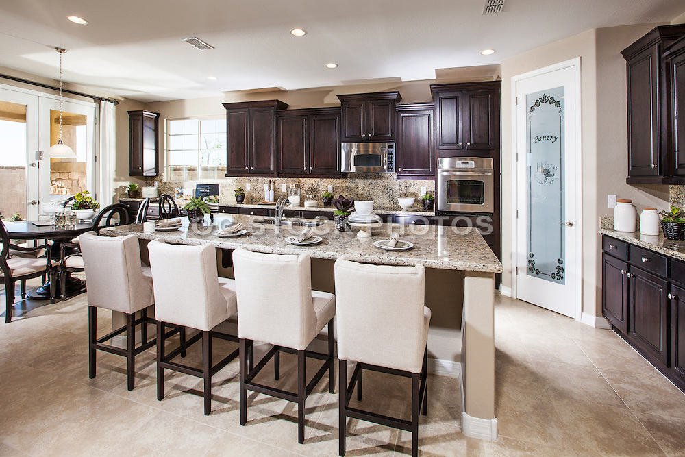 Neutral Color Kitchen with Expresso Cabinets