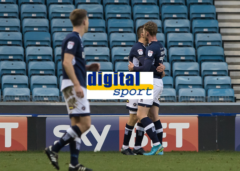 Football - 2017 / 2018 FA Cup - Third Round: Millwall vs. Barnsley<br /> <br /> Aiden O'Brien (Millwall FC) celebrates with team mate after scoring the equaliser at The Den.<br /> <br /> COLORSPORT/DANIEL BEARHAM