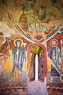 Twelfth century Romanesque frescoes of the Apse of Ginestarre depicting,The Virgin Mary and the Apostles, from the church of Santa Maria de Ginestarre, Catalonia, Spain. National Art Museum of Catalonia, Barcelona. MNAC 15971 ..<br /> <br /> If you prefer you can also buy from our ALAMY PHOTO LIBRARY  Collection visit : https://www.alamy.com/portfolio/paul-williams-funkystock/romanesque-art-antiquities.html<br /> Type -     MNAC     - into the LOWER SEARCH WITHIN GALLERY box. Refine search by adding background colour, place, subject etc<br /> <br /> Visit our ROMANESQUE ART PHOTO COLLECTION for more   photos  to download or buy as prints https://funkystock.photoshelter.com/gallery-collection/Medieval-Romanesque-Art-Antiquities-Historic-Sites-Pictures-Images-of/C0000uYGQT94tY_Y