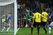 Goalkeeper Maarten Stekelenburg of Everton tries in vain to save the ball as Stefano Okaka Chuka of Watford (out of picture) heads the ball to score his sides 3rd goal. Premier league match, Watford v Everton at Vicarage Road in Watford, London on Saturday 10th December 2016.<br /> pic by John Patrick Fletcher, Andrew Orchard sports photography.