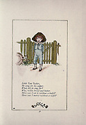 Little Tom Tucker, He sang for his supper. What did he sing for? Why, white bread and butter. How can I cut it without a knife? How can I marry without a wife? from the book Mother Goose : or, The old nursery rhymes by Kate Greenaway, Engraved and Printed by Edmund Evans published in 1881 by George Routledge and Sons London nad New York