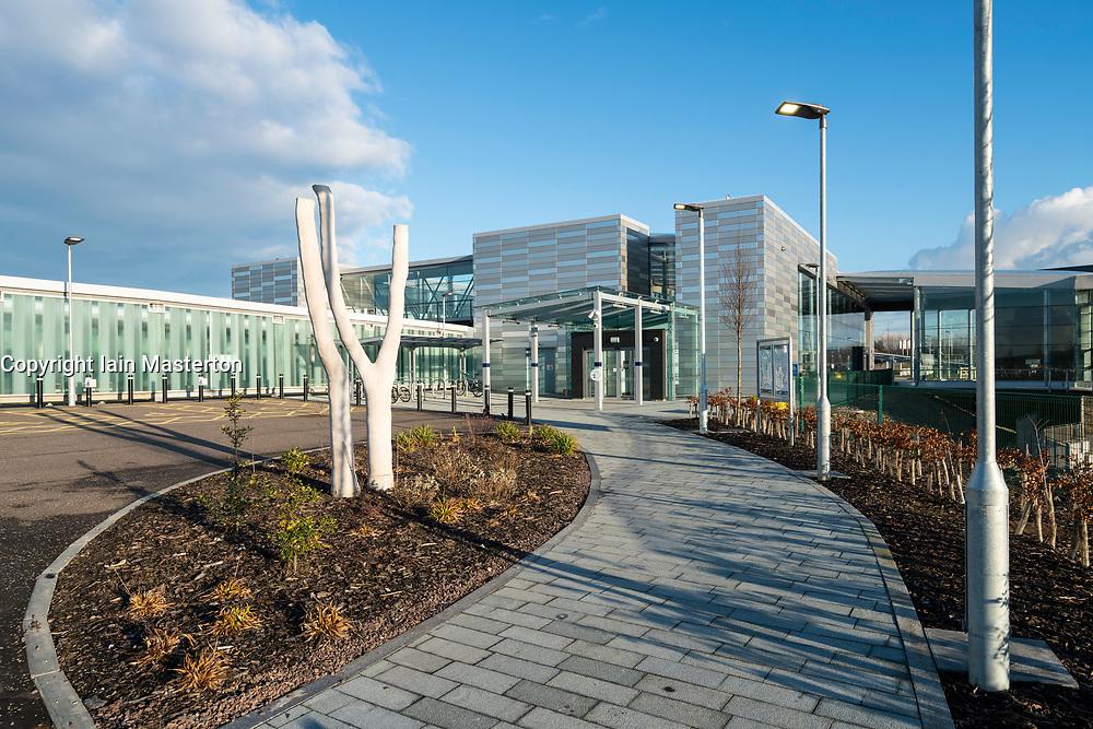 View of modern Edinburgh Gateway railway and tram station that connects Scotrail train passengers with the Edinburgh Tram link  in Edinburgh, Scotland, United Kingdom.
