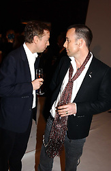 Left to right, GEORDIE GRIEG and DAVID FURNISH at the Moet & Chandon Fashion Tribute 2005 to Matthew Williamson, held at Old Billingsgate, City of London on 16th February 2005.<br />