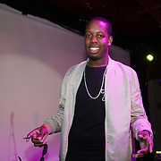 London,England,UK. 14th May 2017. Jerome Thomas (TCO) is a rapper attends the after party of the BBL Play-Off Finals also fundraising for Hoops Aid 2017 but also a major fundraising opportunity for the Sports Traider Charity at London's O2 Arena, UK. by See Li