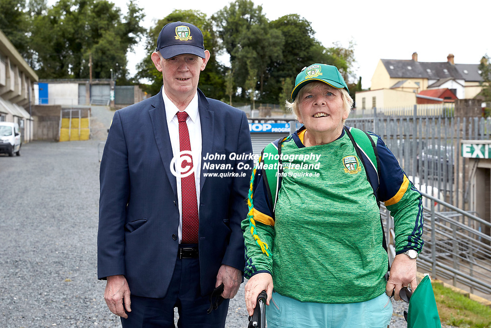 01-08-21, All Ireland Ladies SFC quarterfinal at Clones<br /> Meath v Armagh<br /> Meath supporters pictured at the game: Eileen & Frank Powderly (Navan)<br /> Photo: David Mullen / www.quirke.ie ©John Quirke Photography, Proudstown Road Navan. Co. Meath. 046-9079044 / 087-2579454.<br /> ISO: 200; Shutter: 1/250; Aperture: 7.1;