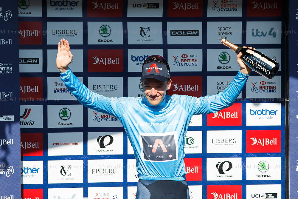 National Botanic Garden of Wales, Llanarthne, Wales, UK. Tuesday 7 September 2021.  Stage 3 of the Tour of Britain cycling race. Ethan Hayter (GBR) of INEOS Grenadiers celebrates being crowned Sportsbreak.com Points Jersey winner at the end of Stage 3.<br /> Credit: Gruffydd Thomas/Alamy