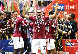 Aston Villa's Ahmed Elmohamady celebrates after the final whistle