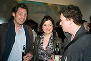 HENRY ALLSOP, ALISON JACQUES AND TIM STONER, Nigel Cook: New Accursed Art Club. Stuart Shave/Modern art. New Gallery at Eastcastle St. Oxford Circus. London. 24 April 2008.  *** Local Caption *** -DO NOT ARCHIVE-© Copyright Photograph by Dafydd Jones. 248 Clapham Rd. London SW9 0PZ. Tel 0207 820 0771. www.dafjones.com.
