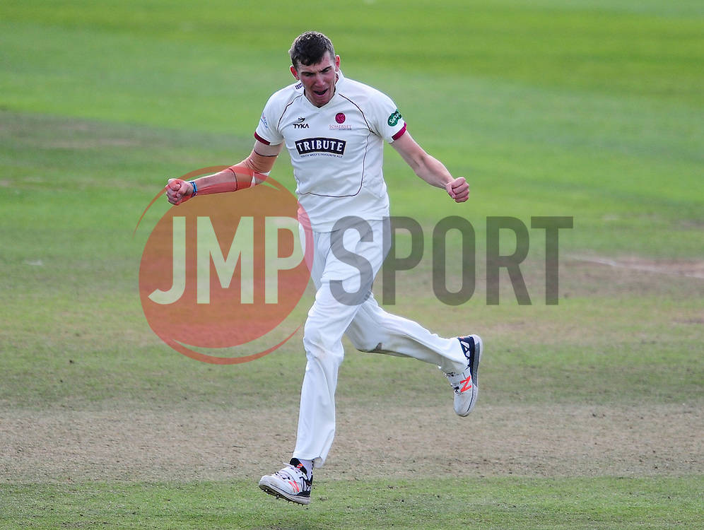 Craig Overton of Somerset celebrates  the wicket of Paul Coughlin of Durham.  - Mandatory by-line: Alex Davidson/JMP - 04/08/2016 - CRICKET - The Cooper Associates County Ground - Taunton, United Kingdom - Somerset v Durham - County Championship