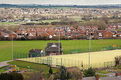 Housing development and sports ground, Mountsorrel, England, UK.