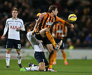 Nikica Jelavic of Hull City tussles with Federico Fazio of Tottenham - Barclays Premier League - Hull City vs Tottenham - Kingston Communications  Stadium - Hull - England - 23rd November 2014  - Picture Simon Bellis/Sportimage