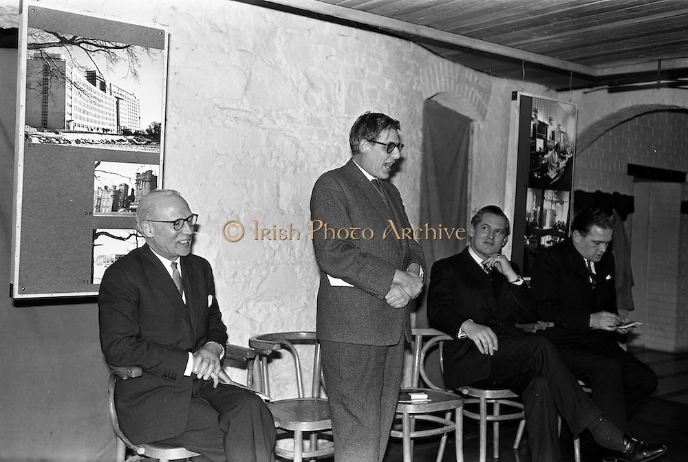 """05/04/1963<br /> 04/05/1963<br /> 05 April 1963<br /> Opening of """"Ulster Today"""" architectural photographic exhibition.Organised by the Royal Society of Ulster Architects opened at the Gallery of the Building Centre of Ireland  in Dublin in the presence of Donagh O'Malley, Parlimentary Secretary to the Minister for Finance and Sir Ian MacLennan, British Ambassador to Ireland. The exhibition was later displayed in Belfast. Picture shows: Dr. R.B. McDowell, Trinity College, Dublin, who officially opened the exhibition speaking."""