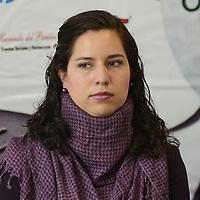 """Toluca, México.- Leslie Pastrana Mejia, responsable de relaciones publicas de la Fundación UAEMex ,durante conferencia de prensa, donde anunciaron el Cuarto Torneo de Golf """"Jugando por la Educación"""", evento organizado por la Fundación UAEMEX. Agencia MVT / Arturo Hernández."""
