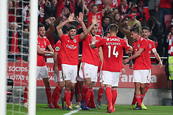 February 6, 2019 - Lisbon, Portugal - Benfica's Portuguese forward Joao Felix celebrates with teammates after scoring during the Portugal Cup Semifinal first leg football match SL Benfica vs Sporting CP at Luz stadium in Lisbon, on February 6, 2019. (Credit Image: © Pedro Fiuza/ZUMA Wire)