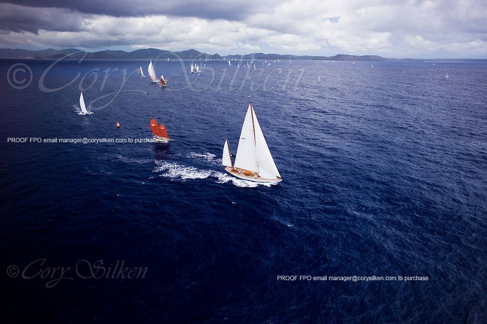 Mariella sailing in the Old Road Race at the 2011 Antigua Classic Yacht Regatta.