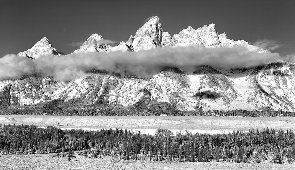 Grand Tetons, dawn with rising cloud, Jackson Hole, Wyoming