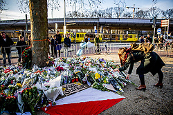 People pay tribute near the scene of the fatal shooting at 24 Oktoberplein, in Utrecht, The Netherlands, 19 March 2019. Three people were killed and five wounded, in a shooting on a tram in Utrecht, on 18 March 2019 The suspect involved in the attack, Gokmen Tanis, aged 37 born in Turkey, has been arrested by the police. Photo by Robin Utrecht/ABACAPRESS.cOM