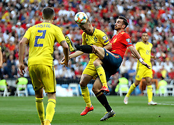 MADRID, June 11, 2019  Spain's Fabian Ruiz (R) competes with Sweden's Sebastian Larsson (C) during the UEFA Euro 2020 group F qualifying football match between Spain and Sweden in Madrid, Spain, on June 10, 2019. Spain won 3-0. (Credit Image: © Edward F. Peters/Xinhua via ZUMA Wire)