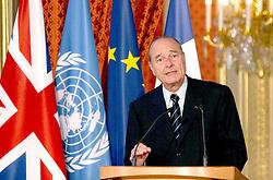September 21, 2016 - Paris, France - JACQUES CHIRAC & KOFI ANNAN. French President Jacques Chirac meets U.K.'s Prime Minister Tony Blair & Kofi Annan (General Secretary Of United Nations ) at the Elysee Palace. (Credit Image: © Visual via ZUMA Press)