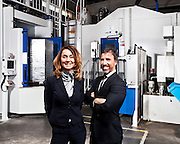 Cristina e Fulvio Boscolo rispettivamente direttore generale, responsabile finanziario e <br /> direttore generale, amministratore delegato di L.M.A., azienda leader nella produzione di componentistiche aerospaziali.