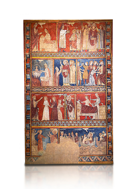 Gothic panel depicting scenes from the Life of St Nicholas. End of the 13th century, fresco transferred to canvas from a mural on the north wall of  The Church of San Fructuoso, Nicholas and John the Evangelist, Huesca, Spain. Inv MNAC 45796. National Museum of Catalan Art (MNAC), Barcelona, Spain .<br /> <br /> If you prefer you can also buy from our ALAMY PHOTO LIBRARY  Collection visit : https://www.alamy.com/portfolio/paul-williams-funkystock/romanesque-art-antiquities.html<br /> Type -     MNAC     - into the LOWER SEARCH WITHIN GALLERY box. Refine search by adding background colour, place, subject etc<br /> <br /> Visit our ROMANESQUE ART PHOTO COLLECTION for more   photos  to download or buy as prints https://funkystock.photoshelter.com/gallery-collection/Medieval-Romanesque-Art-Antiquities-Historic-Sites-Pictures-Images-of/C0000uYGQT94tY_Y