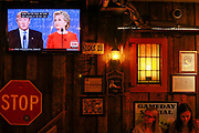 04202015 - Bloomington, Indiana, USA:  Patrons at Nick's English Hut watch Donald Trump and Hillary Clinton on television during their first 2016 presidential election debate. (Jeremy Hogan/Polaris)
