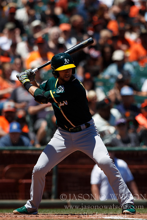 SAN FRANCISCO, CA - JULY 15: Jed Lowrie #8 of the Oakland Athletics at bat against the San Francisco Giants during the fourth inning at AT&T Park on July 15, 2018 in San Francisco, California. The Oakland Athletics defeated the San Francisco Giants 6-2. (Photo by Jason O. Watson/Getty Images) *** Local Caption *** Jed Lowrie