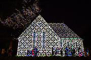 'Lines' by Ross Ashton and Karen Monid as part of Cheriton Light Festival 2018 at All Souls Church, Cheriton High Street, Folkestone, Kent, United Kingdom. The series of lines and patterns is designed to integrate with the architecture of the building, alongside a specially composed soundtrack to fuse large-scale projection, sound and metamorphosis.