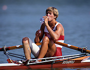 Barcelona, SPAIN.  CAN W1X,  Bronze Medalist, Silken LAUMANN,   Bandage's visable from injuries she received to right leg after being in collision with another boat, while training at a European Regatta, approx.  two months before the 1992 Olympic Rowing Regatta Lake Banyoles, Catalonia [Mandatory Credit Peter Spurrier/ Intersport Images]