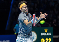 Tennis - 2019 Nitto ATP Finals at The O2 - Day One<br /> <br /> Singles Group Bjorn Borg: Roger Federer (Switzerland) vs. Dominic Thiem (Austria)<br /> <br /> Dominic Thiem (Austria) with tongue out returns the serve <br /> <br /> COLORSPORT/DANIEL BEARHAM
