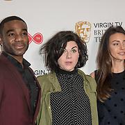 Ore Oduba, Caitlin Moran and Michelle Keega attend the Virgin TV BAFTA TV Nominations Press Conference, London, UK - 04 April 2018 at BAFTA, Piccadilly, London, UK.